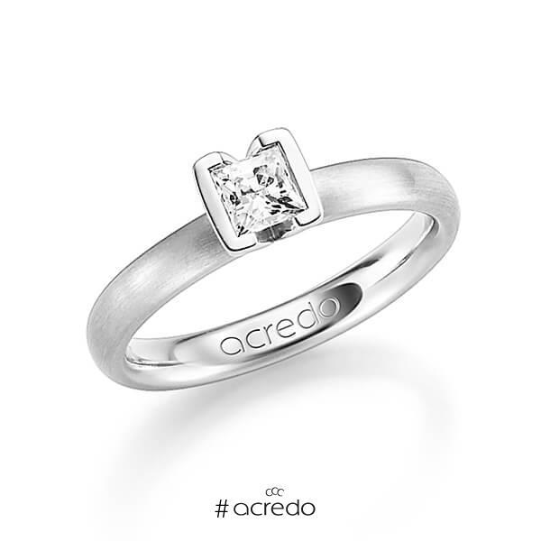 klassischer Trauring/Ehering in Weißgold 585 mit 0,4 ct. Prinzess-Diamant tw, vs von acredo