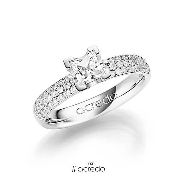 klassischer Trauring/Ehering in Weißgold 585 mit 0,5 ct. + zus. 0,432 ct. Brillant & Prinzess-Diamant tw, si tw, vs von acredo