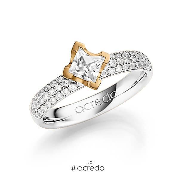 klassischer Trauring/Ehering in Weißgold 585 mit 0,5 ct. + zus. 0,432 ct. Prinzess-Diamant & Brillant tw, vs tw, si von acredo