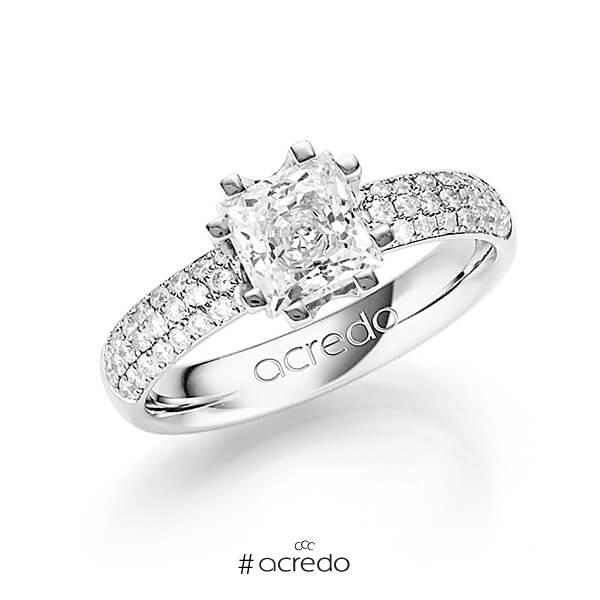 klassischer Trauring/Ehering in Weißgold 585 mit 1 ct. + zus. 0,432 ct. Prinzess-Diamant & Brillant tw, vs tw, si von acredo
