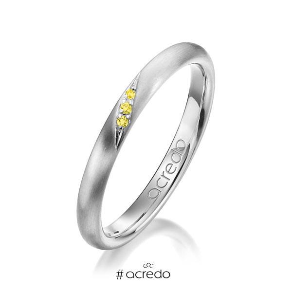 klassischer Trauring/Ehering in Weißgold 585 mit zus. 0,015 ct. Brillant gelb von acredo
