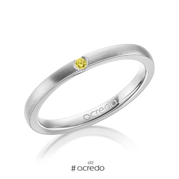 klassischer Trauring/Ehering in Weißgold 585 mit zus. 0,025 ct. Brillant gelb von acredo
