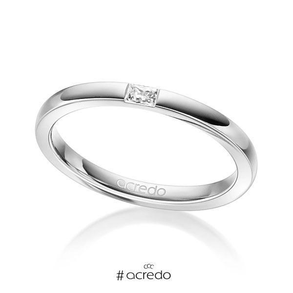 klassischer Trauring/Ehering in Weißgold 585 mit zus. 0,07 ct. Baguette-Diamant tw, vs von acredo