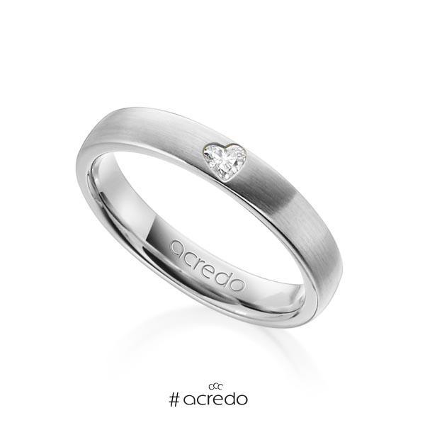 klassischer Trauring/Ehering in Weißgold 585 mit zus. 0,08 ct. Herz-Diamant tw, vs von acredo
