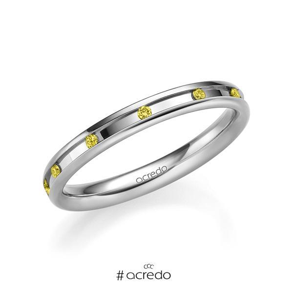 klassischer Trauring/Ehering in Weißgold 585 mit zus. 0,11 ct. Brillant gelb von acredo