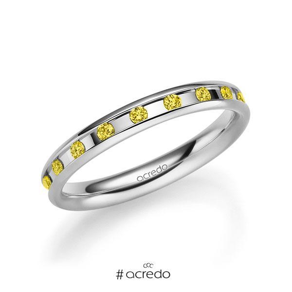 klassischer Trauring/Ehering in Weißgold 585 mit zus. 0,18 ct. Brillant gelb von acredo