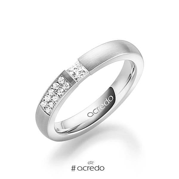 klassischer Trauring/Ehering in Weißgold 585 mit zus. 0,25 ct. Prinzess-Diamant & Brillant tw, si von acredo