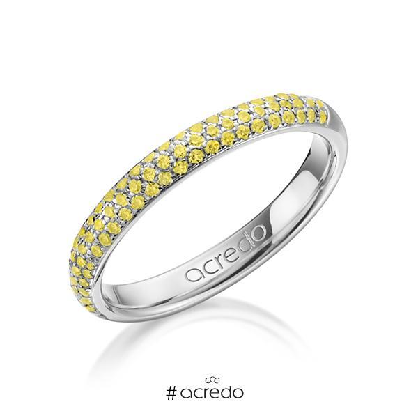 klassischer Trauring/Ehering in Weißgold 585 mit zus. 0,38 ct. Brillant gelb von acredo
