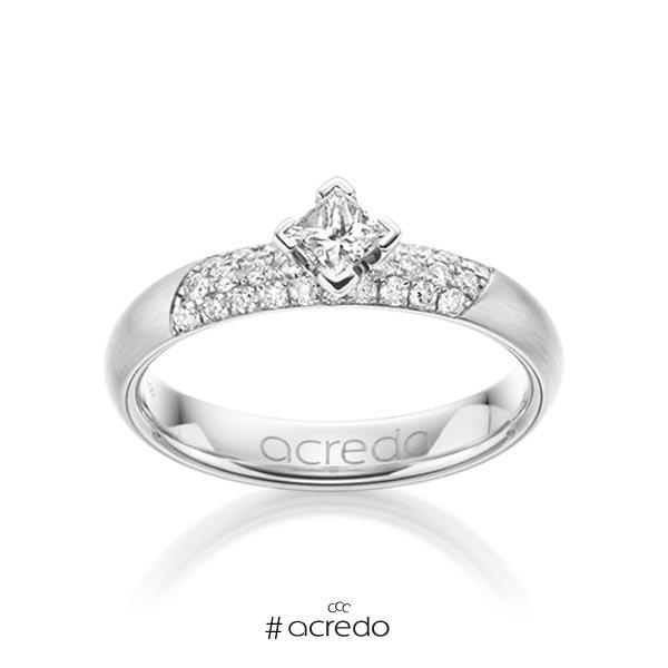 klassischer Trauring/Ehering in Weißgold 585 mit zus. 0,52 ct. Brillant & Prinzess-Diamant tw, si von acredo