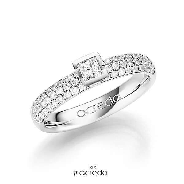 klassischer Trauring/Ehering in Weißgold 585 mit zus. 0,582 ct. Brillant & Prinzess-Diamant tw, si tw, vs von acredo