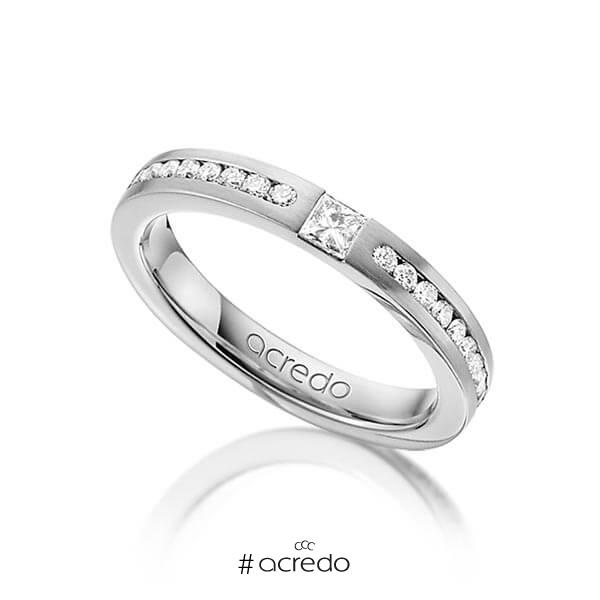 klassischer Trauring/Ehering in Weißgold 585 mit zus. 0,72 ct. Brillant & Prinzess-Diamant tw, si von acredo