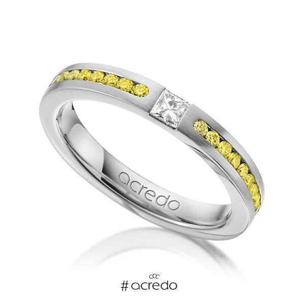 klassischer Trauring/Ehering in Weißgold 585 mit zus. 0,72 ct. Prinzess-Diamant & Brillant tw, if gelb von acredo