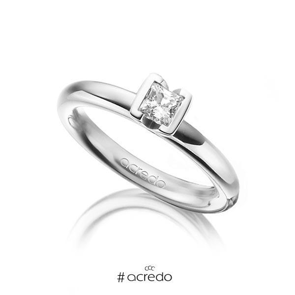 klassischer Trauring/Ehering in Weißgold 750 mit 0,4 ct. Prinzess-Diamant tw, vs von acredo