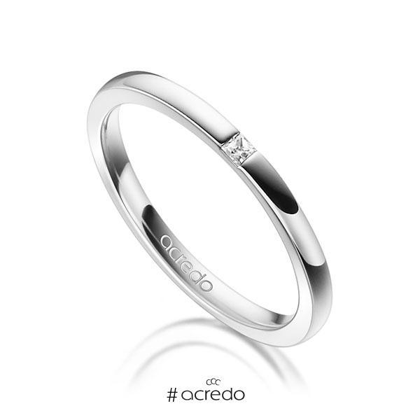 klassischer Trauring/Ehering in Weißgold 750 mit zus. 0,03 ct. Prinzess-Diamant tw, si von acredo