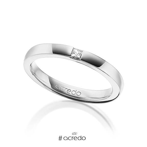 klassischer Trauring/Ehering in Weißgold 750 mit zus. 0,07 ct. Prinzess-Diamant tw, si von acredo