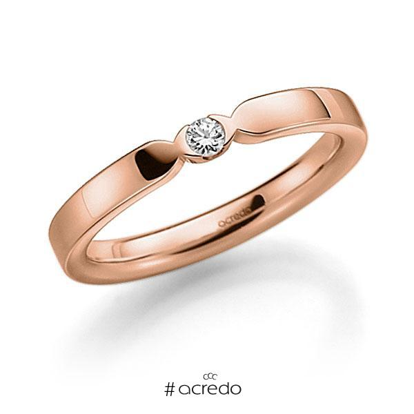 Memoire-Ring Rotgold 585 mit 0,06 ct. tw, vs
