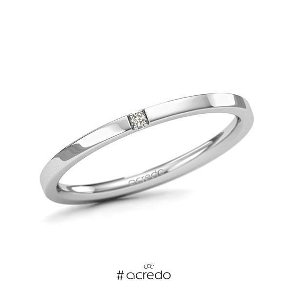 Memoire-Ring Weißgold 585 mit 0,01 ct. tw, si