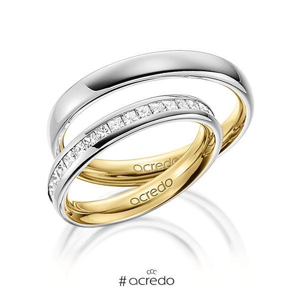 Paar bicolor Memoire-Trauringe/Eheringe in außen Graugold 585 , innen Gelbgold 585 halbausgefasst mit zus. 0,57 ct. Prinzess-Diamant tw, si von acredo