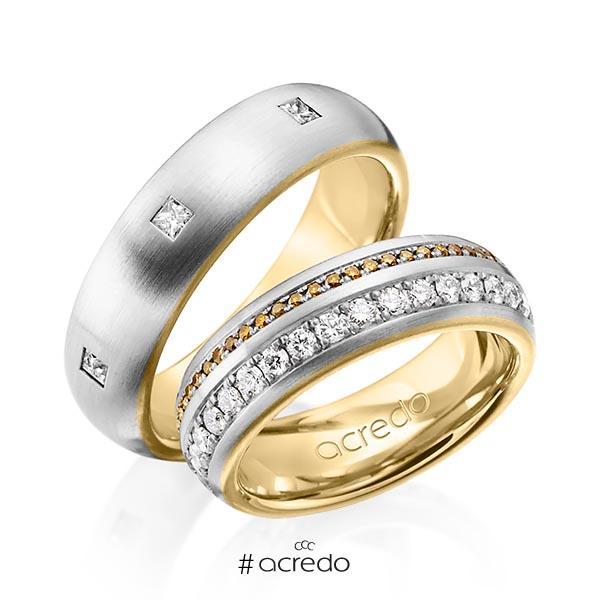 Paar bicolor Memoire-Trauringe/Eheringe in außen Graugold 585 , innen Gelbgold 585 vollausgefasst mit zus. 1,59 ct. Brillant & Prinzess-Diamant cognac r, if von acredo