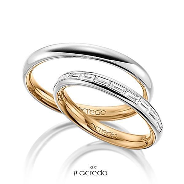 Paar bicolor Memoire-Trauringe/Eheringe in außen Graugold 585 , innen Roségold 585 halbausgefasst mit zus. 0,55 ct. Baguette-Diamant tw, vs von acredo