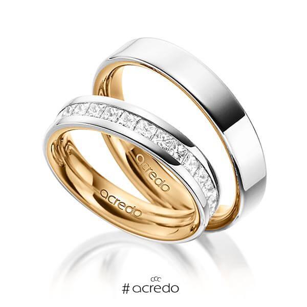 Paar bicolor Memoire-Trauringe/Eheringe in außen Graugold 585 , innen Roségold 585 halbausgefasst mit zus. 1,05 ct. Prinzess-Diamant tw, si von acredo