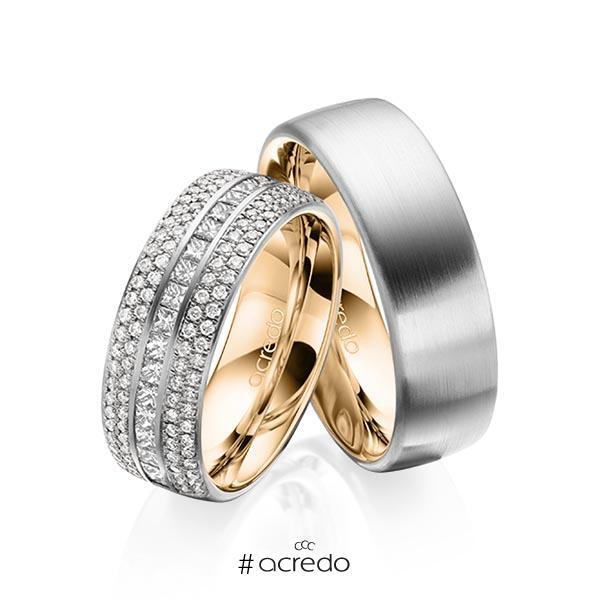 Paar bicolor Memoire-Trauringe/Eheringe in außen Graugold 585 , innen Roségold 585 halbausgefasst mit zus. 1,12 ct. Brillant & Prinzess-Diamant tw, si von acredo