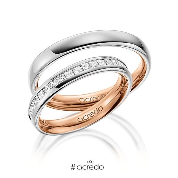 Paar bicolor Memoire-Trauringe/Eheringe in außen Graugold 585 , innen Rotgold 585 halbausgefasst mit zus. 0,57 ct. Prinzess-Diamant tw, si von acredo