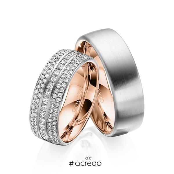 Paar bicolor Memoire-Trauringe/Eheringe in außen Graugold 585 , innen Rotgold 585 halbausgefasst mit zus. 1,12 ct. Brillant & Prinzess-Diamant tw, si von acredo