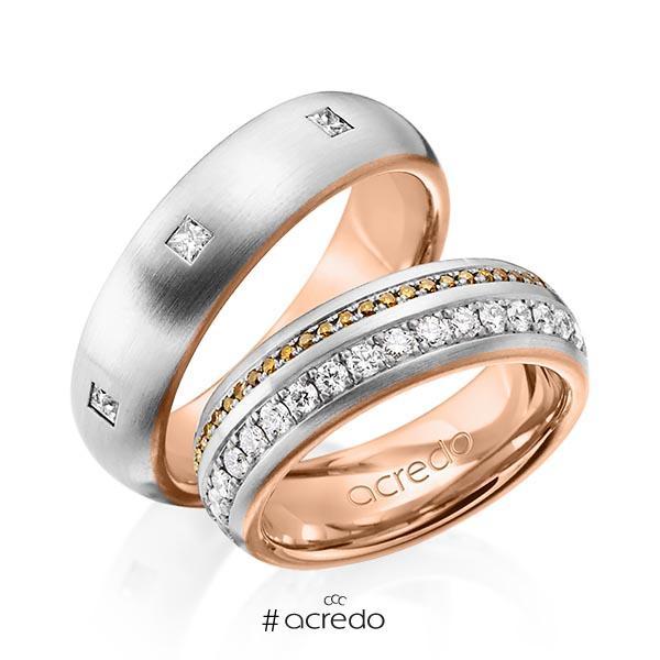 Paar bicolor Memoire-Trauringe/Eheringe in außen Graugold 585 , innen Rotgold 585 vollausgefasst mit zus. 1,59 ct. Brillant & Prinzess-Diamant cognac r, if von acredo