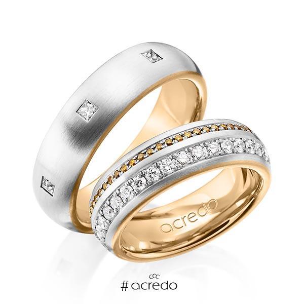 Paar bicolor Memoire-Trauringe/Eheringe in außen Platin 950 , innen Roségold 750 vollausgefasst mit zus. 1,59 ct. Brillant & Prinzess-Diamant cognac r, if von acredo