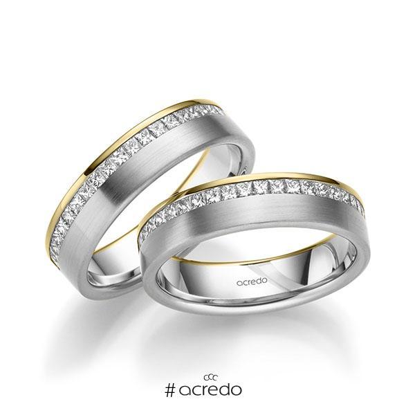 Paar bicolor Memoire-Trauringe/Eheringe in Gelbgold 585 Weißgold 585 halbausgefasst mit zus. 1,26 ct. Prinzess-Diamant tw, si von acredo