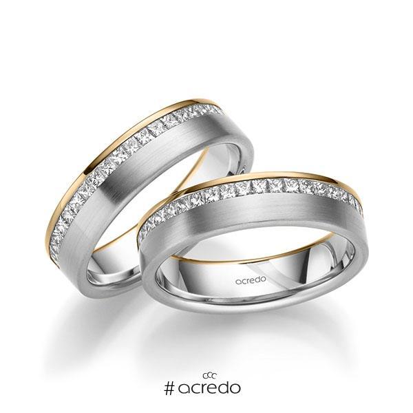 Paar bicolor Memoire-Trauringe/Eheringe in Roségold 585 Weißgold 585 halbausgefasst mit zus. 1,26 ct. Prinzess-Diamant tw, si von acredo