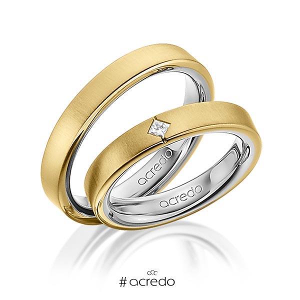 Paar bicolor Trauringe/Eheringe in außen Gelbgold 585 , innen Graugold 585 mit zus. 0,05 ct. Prinzess-Diamant tw, si von acredo