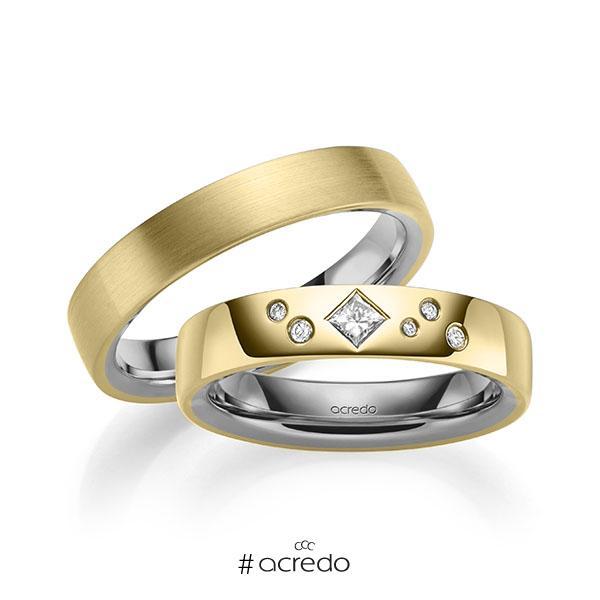 Paar bicolor Trauringe/Eheringe in außen Gelbgold 585 , innen Graugold 585 mit zus. 0,146 ct. Brillant & Prinzess-Diamant tw, si von acredo