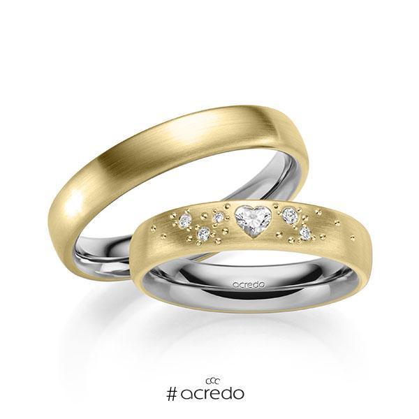 Paar bicolor Trauringe/Eheringe in außen Gelbgold 585 , innen Graugold 585 mit zus. 0,146 ct. Herz-Diamant & Brillant tw, vs tw, si von acredo