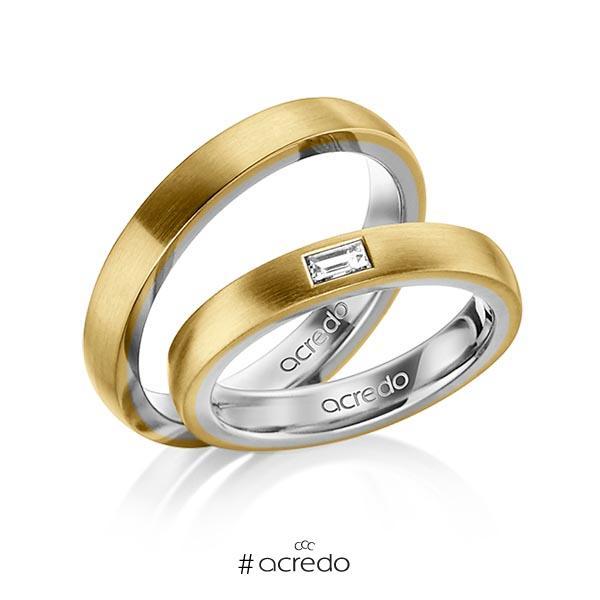Paar bicolor Trauringe/Eheringe in außen Gelbgold 585 , innen Graugold 585 mit zus. 0,15 ct. Baguette-Diamant tw, vs von acredo