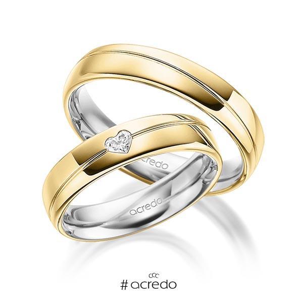 Paar bicolor Trauringe/Eheringe in außen Gelbgold 585 , innen Graugold 585 mit zus. 0,1 ct. Herz-Diamant tw, vs von acredo