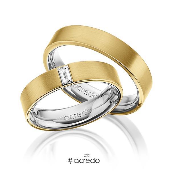 Paar bicolor Trauringe/Eheringe in außen Gelbgold 585 , innen Graugold 585 mit zus. 0,2 ct. Baguette-Diamant tw, vs von acredo
