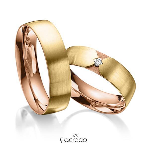 Paar bicolor Trauringe/Eheringe in außen Gelbgold 585 , innen Rotgold 585 mit zus. 0,04 ct. Prinzess-Diamant tw, si von acredo