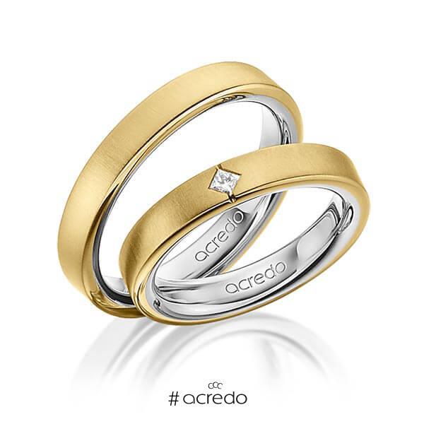 Paar bicolor Trauringe/Eheringe in außen Gelbgold 750 , innen Platin 950 mit zus. 0,05 ct. Prinzess-Diamant tw, si von acredo