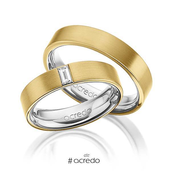 Paar bicolor Trauringe/Eheringe in außen Gelbgold 750 , innen Platin 950 mit zus. 0,2 ct. Baguette-Diamant tw, vs von acredo