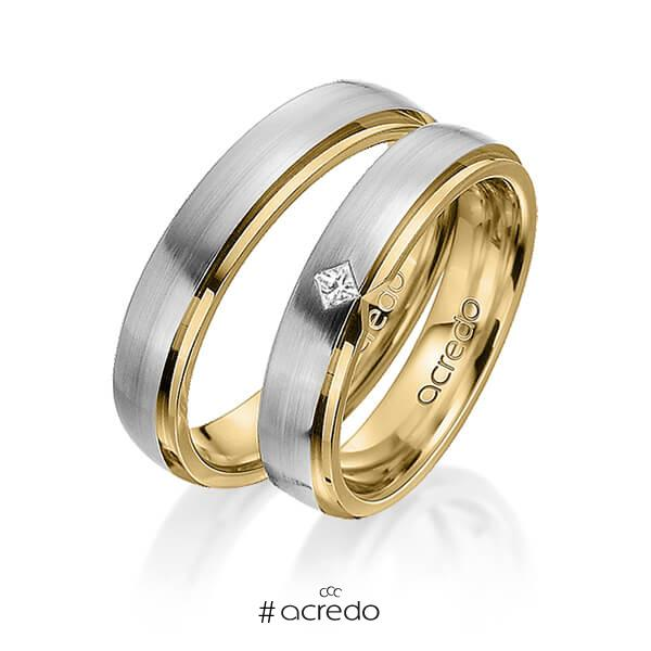 Paar bicolor Trauringe/Eheringe in außen Graugold 585 , innen Gelbgold 585 mit zus. 0,03 ct. Prinzess-Diamant tw, si von acredo