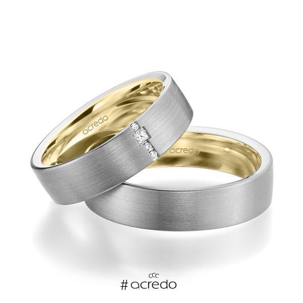 Paar bicolor Trauringe/Eheringe in außen Graugold 585 , innen Gelbgold 585 mit zus. 0,045 ct. Brillant & Prinzess-Diamant tw, si von acredo