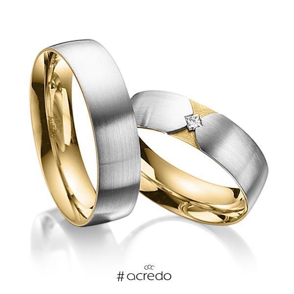 Paar bicolor Trauringe/Eheringe in außen Graugold 585 , innen Gelbgold 585 mit zus. 0,04 ct. Prinzess-Diamant tw, si von acredo