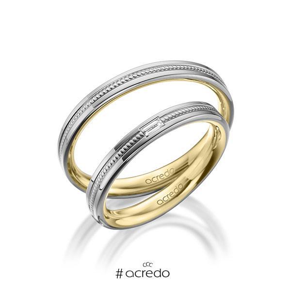 Paar bicolor Trauringe/Eheringe in außen Graugold 585 , innen Gelbgold 585 mit zus. 0,05 ct. Baguette-Diamant tw, vs von acredo
