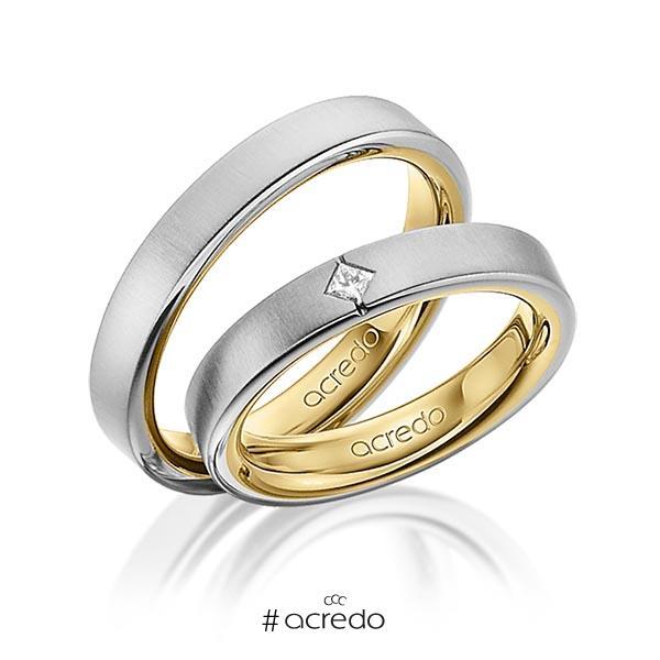 Paar bicolor Trauringe/Eheringe in außen Graugold 585 , innen Gelbgold 585 mit zus. 0,05 ct. Prinzess-Diamant tw, si von acredo