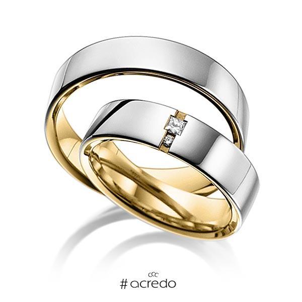 Paar bicolor Trauringe/Eheringe in außen Graugold 585 , innen Gelbgold 585 mit zus. 0,06 ct. Prinzess-Diamant & Brillant tw, si von acredo