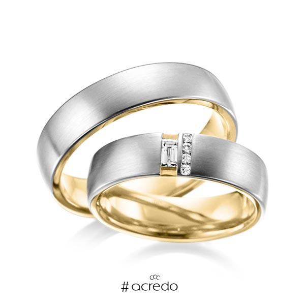 Paar bicolor Trauringe/Eheringe in außen Graugold 585 , innen Gelbgold 585 mit zus. 0,132 ct. Baguette-Diamant & Brillant tw, vs von acredo