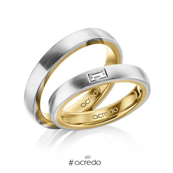 Paar bicolor Trauringe/Eheringe in außen Graugold 585 , innen Gelbgold 585 mit zus. 0,15 ct. Baguette-Diamant tw, vs von acredo