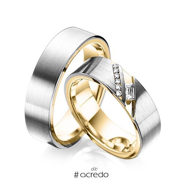 Paar bicolor Trauringe/Eheringe in außen Graugold 585 , innen Gelbgold 585 mit zus. 0,16 ct. Baguette-Diamant & Brillant tw, vs tw, si von acredo